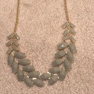 Green Leaf-cut laurel style Resin Bib Necklace